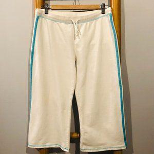 Cropped Wide-Legged Sweatpant - White with Aqua